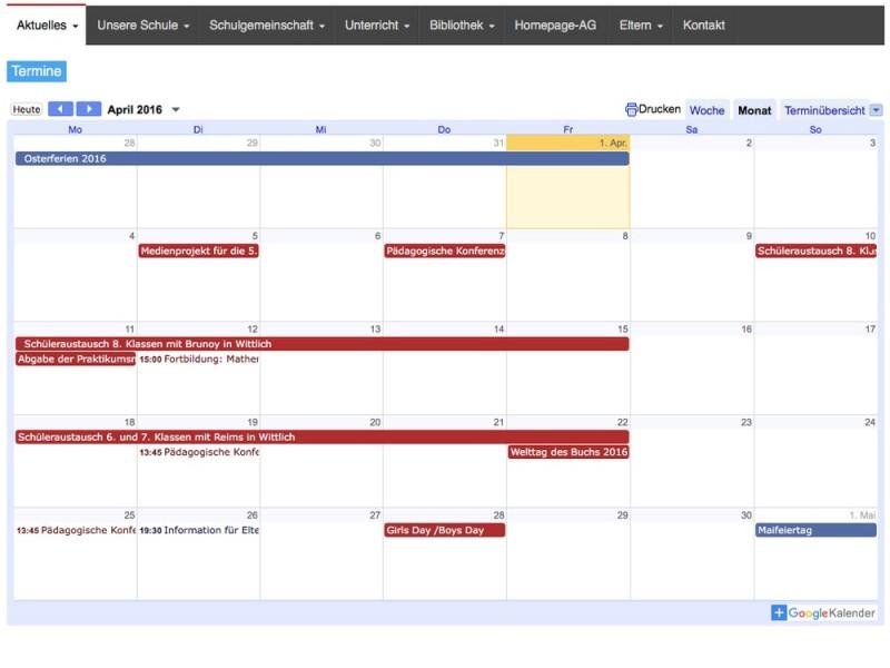 Umstellung auf Google Kalender